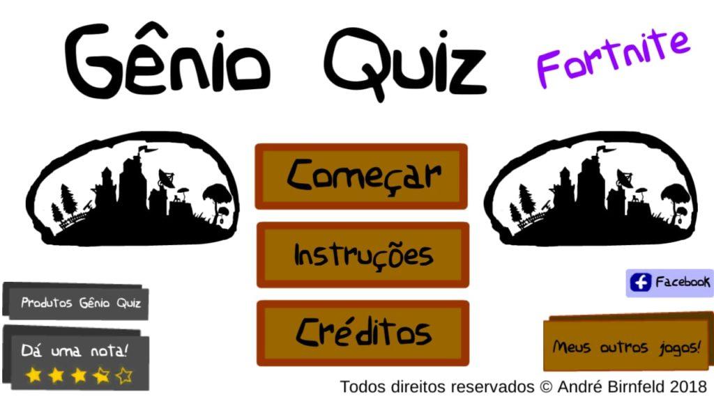 Gênio Quiz Fortnite é um jogo online grátis