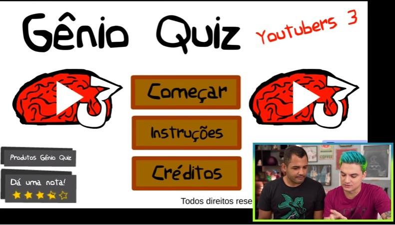 Felipe Neto e Lucas jogando o Gênio Quiz Youtubers 3